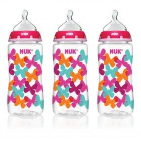 NUK Fashion Orthodontic Bottle Butterfly Girl 10 oz 300ml 1/2/3