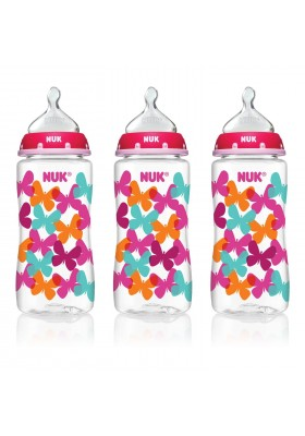 NUK Fashion Orthodontic Bottle Butterfly Girl 10 oz 300ml 1/2/3