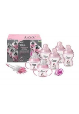 Tommee Tippee - Closer to Nature Decorated Bottles Newborn Starter Kit- Pink Free Shipping
