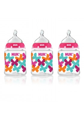 NUK Fashion Orthodontic Bottle Butterfly Girl 5 oz 150ml 1/2/3