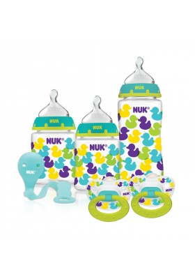NUK Fashion Confetti Ducks Orthodontic Bottle and Pacifier Gift Starter Set-Free Shipping