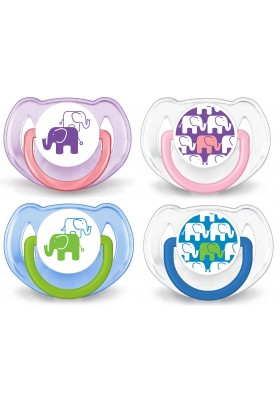 Philips AVENT BPA-Free Fashion Elephant Design Soothers 6-18 Months Twin Pack New Design