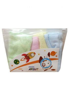 Avent Baby Washcloth Handkerchief - 4 pieces set (Assorted Colors)