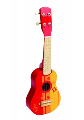 Hape Early Melodies Ukulele Guitar Red Color Wooden Musical Toy 3 years and up
