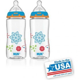NUK Advanced Orthodontic Bottles ( 300ml 10oz ) Wide-Neck Bottles with Silicone Teat (0m+) Medium Flow Twin Pack