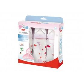 NUK Fashion Orthodontic Bottle Rose & Rabbit Girl 10 oz 300ml 1/2/3