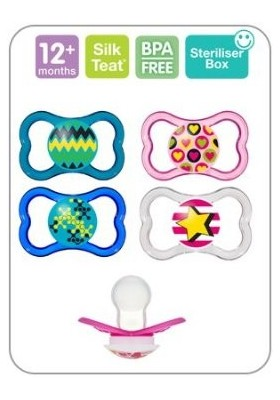 MAM AIR BPA FREE Orthodontic Silicone Pacifiers 12 months, 2-pk(Assorted colors)