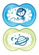 MAM NIGHT BPA Free Glow in the Dark Silicone Pacifier 16 Months Twin Pack