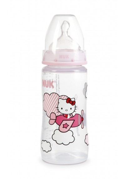 NUK Hello Kitty First Choice+ 300ml 10oz Bottle Pink Single Loose Pack Size 1 Silicone Teat (0-6m) Medium