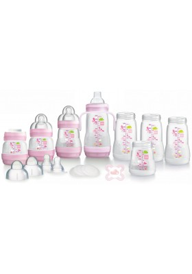 MAM Anti-Colic Self-Sterilising Bottle Starter Set 15pcs (Pink)