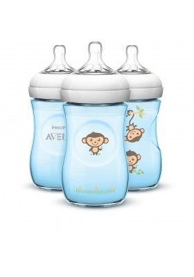 Philips Avent natural BPA Free 260ml/9oz(1/2/3) Decorated - Blue Jungle Monkeys (Special Edition) SCF644/31