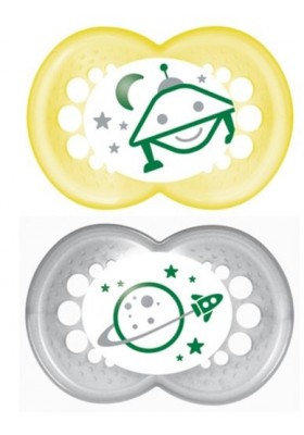 MAM NIGHT BPA Free Glow in the Dark Silicone Pacifier, 6 Months, 2 Pack