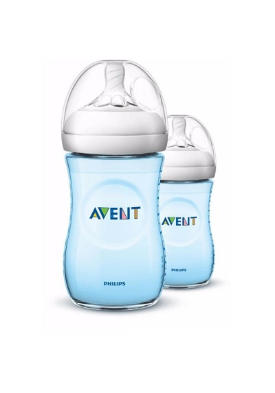 Philips Avent Bottle Natural 2 x 9oz / 260 ml (Twin) PINK/BLUE