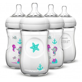 Philips AVENT Natural 9oz 260ml Baby Bottle with Seahorse Design Single Loose Pack