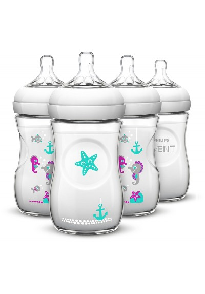 Philips AVENT Natural Baby Bottle with Seahorse Design Single Loose Pack