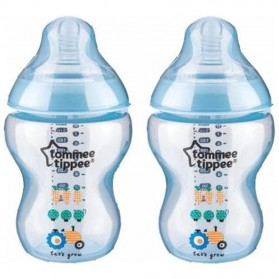 Tommee Tippee Closer To Nature Tinted Bottle 260ml/9oz Blue Carrot Twin Pack
