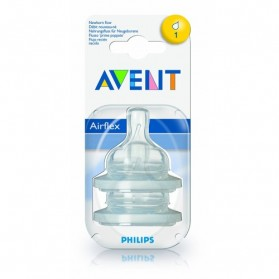 Philips Avent: 2 Silicone Teats 0 month+ (Level 1) - Newborn Flow