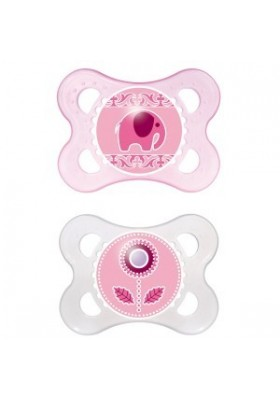 MAM Original Silicone Pacifier 0-6m Twin Pack Girl/Boy with Sterilisable Travel Case