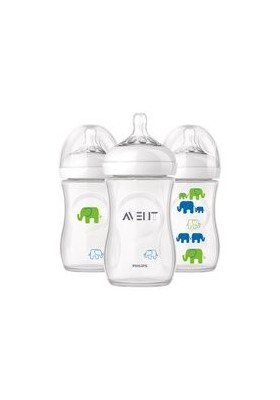 Philips AVENT Natural Range 260ml (9oz) x 1 Feeding Bottle with Elephant printed Girl Boy