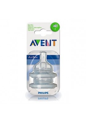 Philips Avent: 2 Silicone Teats 1 Month+ (Level 2) - Newborn-Twin Pack