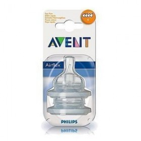 Philips Avent: 2 Silicone Teats 6 Month+ (Level 4) -Fast Flow
