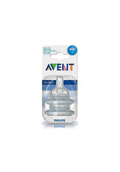 Philips Avent: 2 Silicone Teats 3 months (Level 3) - Medium Flow