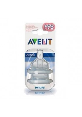 Philips Avent: 2 Silicone Teats 3 Months - Variable Flow