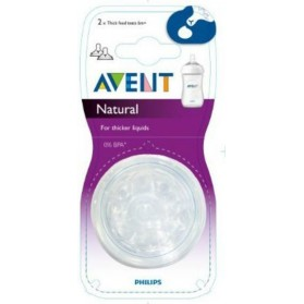 Philips Avent: 2 Silicone Natural Teats 6 Month+ (Thick Feed Fluids Y-Slot Hole)