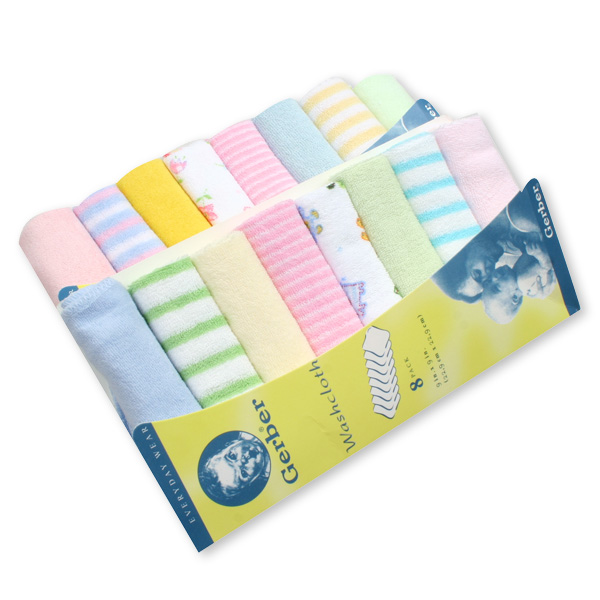Gerber Baby Washcloth Handkerchief - 8 pieces set